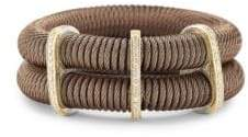 Alor Kai 18K Gold & Bronze-Tone Stainless Steel Diamond Tiered Coiled Bangle Bracelet