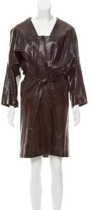 Zero Maria Cornejo Dolman Sleeve Leather Coat