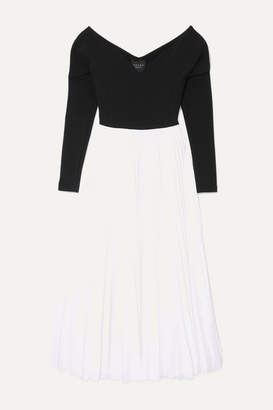 A.W.A.K.E. Mode Grace Off-the-shoulder Pleated Stretch-cady And Crepe Maxi Dress - Black