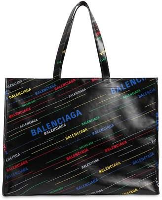 Balenciaga Slide Logo Leather Tote Bag