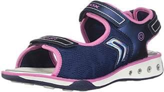 Geox Girl's JR Sandal Jocker Girl Athletic Sandals, Navy/Pink, 32 EU/