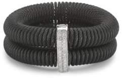 Alor Kai 18K White Gold & Black-Tone Stainless Steel Diamond Tiered Coiled Bangle Bracelet