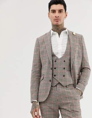 skinny fit small check suit jacket
