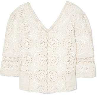 LoveShackFancy Solstice Crochet-trimmed Broderie Anglaise Cotton Top - Off-white