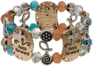"Believe In ""Faith Forward"" Two Tone Beaded Stretch Bracelet"