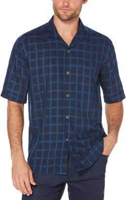 Cubavera Big & Tall Windowpane Camp Collar Shirt