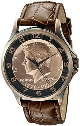 August Steiner Men's CN010C Rose Gold Quartz Watch with Kennedy Half Dollar Dial and Brown Embossed Leather Strap