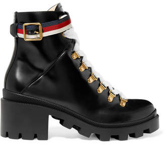 Gucci Grosgrain-trimmed Leather Ankle Boots - Black