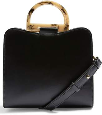 Topshop Theo Acrylic Handle Faux Leather Bag