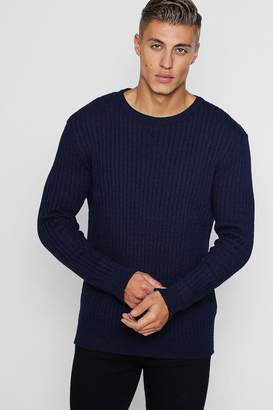 boohoo Muscle Fit Ribbed Crew Neck Jumper