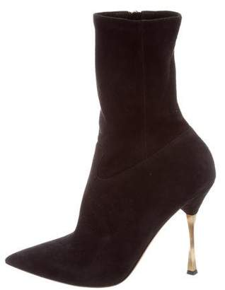 Valentino Suede Pointed-toe Ankle Boot