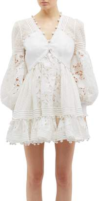 Zimmermann 'Corsage' blouson sleeve guipure lace panel mini dress