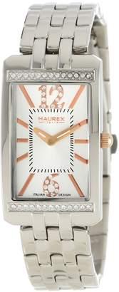 Haurex Italy Women's 2S391DSH Primula Stainless Steel Rectangular Sunray Dial Swarovski Watch