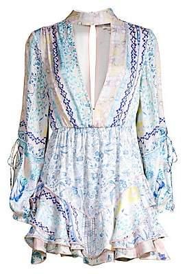 HEMANT AND NANDITA Women's Split Sleeve Print Dress