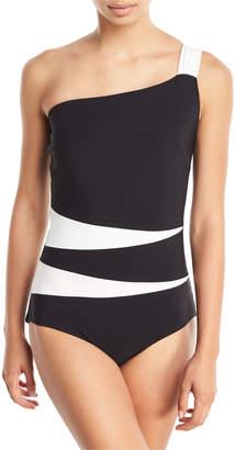 Chiara Boni Calipso One-Shoulder Colorblock One-Piece Swimsuit