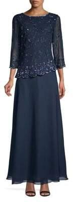 J Kara Botanical Beaded Cape Maxi Dress