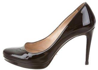 pradaPrada Patent Leather Semi Pointed-Toe Pumps
