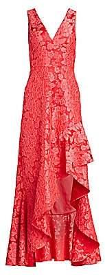 ML Monique Lhuillier Women's Asymmetric Floral Jacquard Ruffle Gown - Size 0