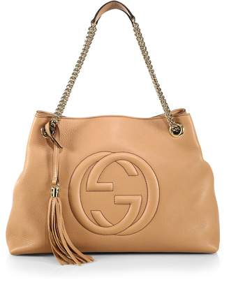 Gucci Pebbled Leather Soho Shoulder Hand Bag Tassel