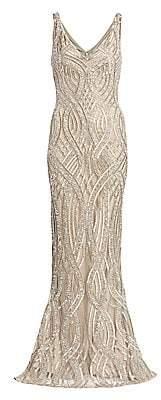 Rachel Gilbert Women's Allover Embellished V-Neck Gown