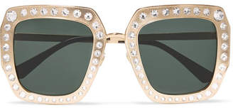 Gucci Crystal-embellished Square-frame Gold-tone Sunglasses - one size