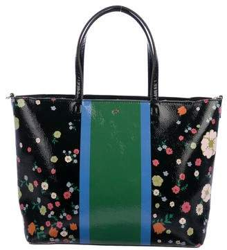 Tory Burch Patent Leather Floral Print Satchel