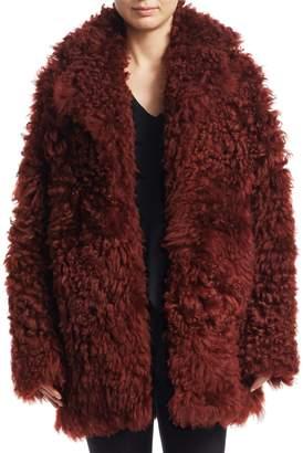Derek Lam Shearling Notched Collar Coat