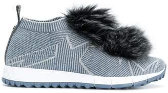 Jimmy Choo Norway fox fur pom pom sneakers