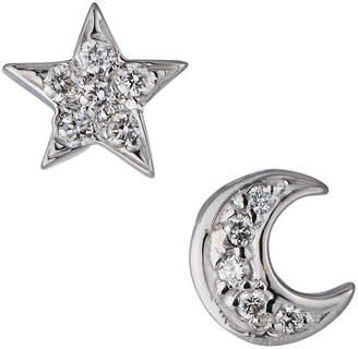KC Designs 14k White Gold Diamond Star & Moon Earrings
