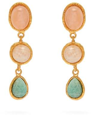 Sylvia Toledano - Three Stone Quartz, Moonstone & Amazonite Earrings - Womens - Multi