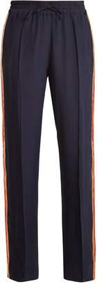 SERENA BUTE Contrast-striped wide-leg silk-crepe trousers