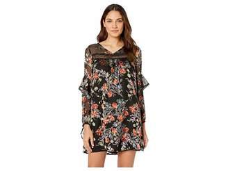 Miss Me Lace Trim Ruffle Sleeve Floral Burnout Mini Dress
