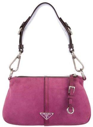 pradaPrada Leather-Trimmed Scamosciato Bag
