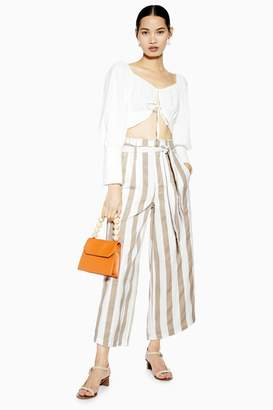Topshop Womens Belted Stripe Crop Wide Trousers - Sand