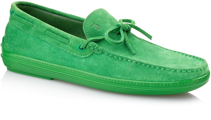 Tod's Suede Boat Shoes With Front Tie