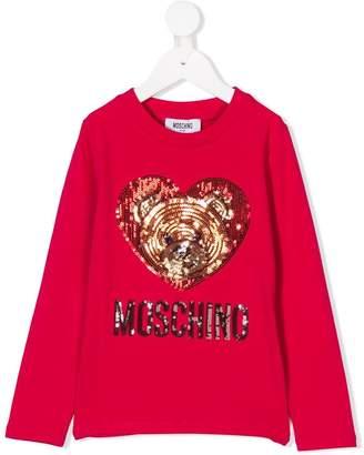 Moschino Kids sequin bear heart long sleeved T-shirt