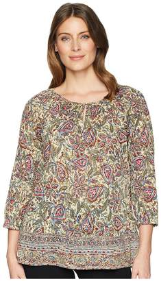 Chaps 3/4 Paisley Cotton Shirt Women's Clothing