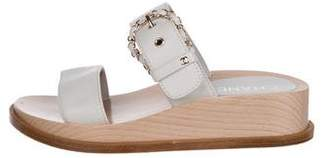 Chanel Leather Wedge Sandals