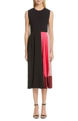 Roksanda Satin Panel Georgette Midi Dress
