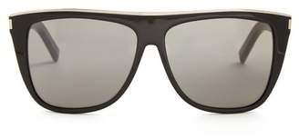 Saint Laurent Combi Flat Top Acetate Sunglasses - Womens - Black Multi