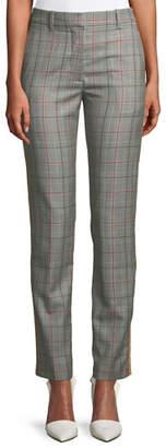 Calvin Klein Slim Straight-Leg Glen-Check Plaid Cropped Pants