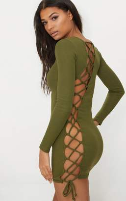 PrettyLittleThing Olive Rib Long Sleeve Lace Up Back Bodycon Dress