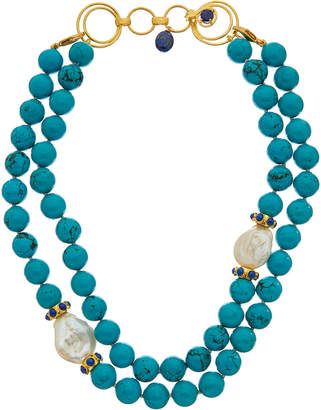 Bounkit 14K Plated Layered Turquoise Necklace
