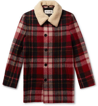 Saint Laurent Shearling-Trimmed Checked Wool Coat