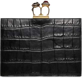 Alexander McQueen Small Croc Embossed Leather Clutch