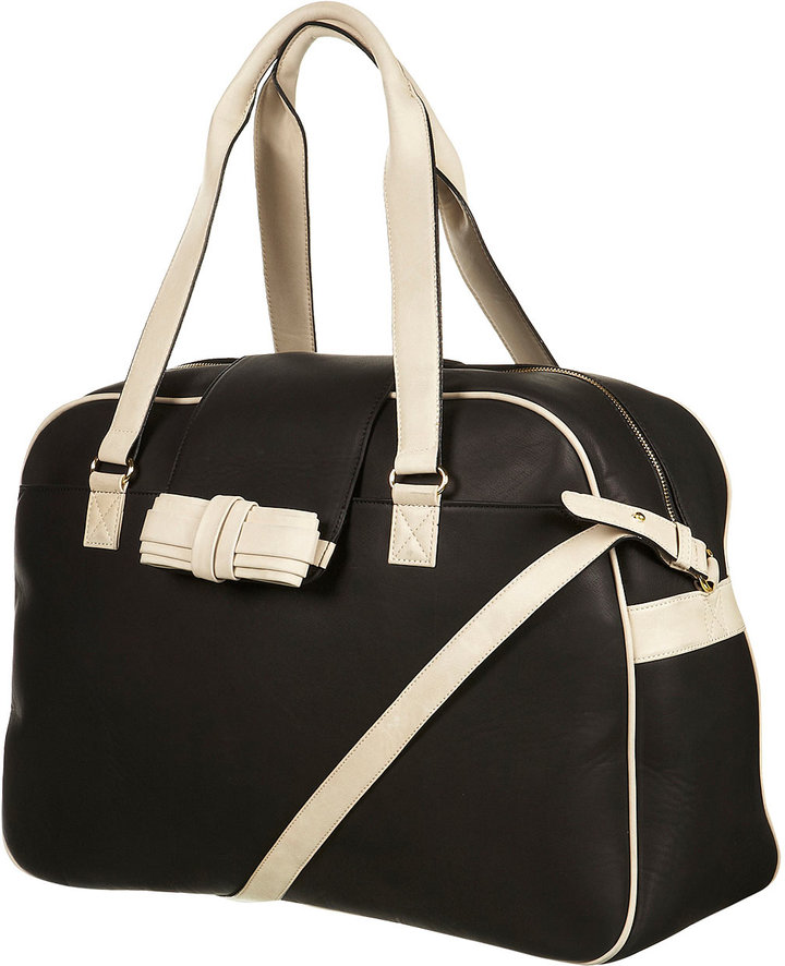 Topshop Bow Two Colour Weekend Holdall