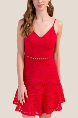 francesca's Calista Lace Fit and Flare - Red