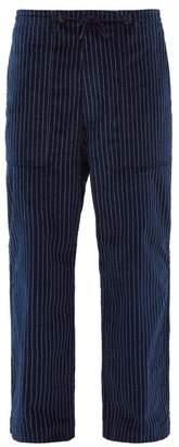 Chalk Striped Wide Leg Cotton Trousers - Mens - Navy