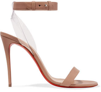 Christian Louboutin Jonatina Pvc-trimmed Leather Sandals - Neutral