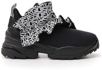 Sergio Rossi Logo Ruched Chunky Heel Sneakers